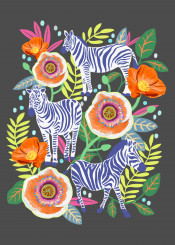 flower floral animal zebra animalprint illustration