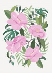 pink flower floral blossom tropical pattern illustration