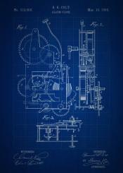 vintage patent alarm clock blueprint colt home decor inventions invention