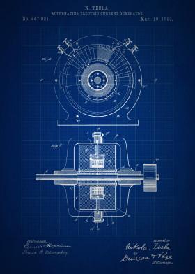 Vintage patents blueprint edition by nerdiful art displate vintage patent tesla ac generator alternating current inventions blueprint electric electricity nikola malvernweather Choice Image