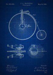 vintage patent patents bicycle old large wheel bike velocipede blueprint blueprints invention inventions blue