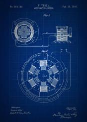 vintage patent patents blueprint blueprints alternating motor ac tesla nikola invention inventions