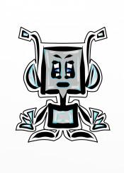 robot futuristic retro old school silver blue gadget technology cartoon animation
