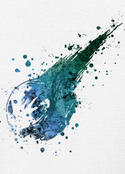 final fantasy video game gaming paint splat splatter green blue canvas white vii ff ffvii ff7 cloud strife cerberus crisis core