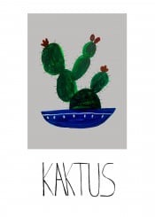 wall illustration plant cactus poterry