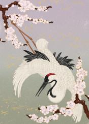 japanese crane painting chinese ink brush bird sakura cherry blossom tree kimono