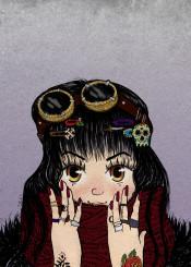 manga tattoos girl lolita hell goggles skull painting fashion