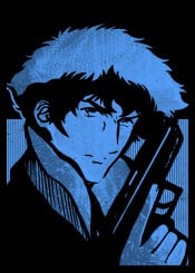 spike cowboy bebop ink inking japanese japan blue gun minimal cool vintage retro anime manga jet faye swordfish ed kill see space cowboys rose fanfreak