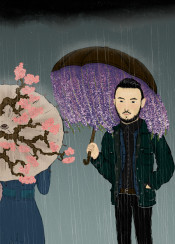 couple handsome flowers sakura cherry blossom rain umbrella men chinese ink painting spring