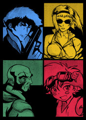 cowboy bebop jet ed edward red blue green yellow faye valatine anime manga japanese ink inking fanfreak cool vintage space cowboys see bounty hunters swordfish spacecraft spike spegal rose kill murder