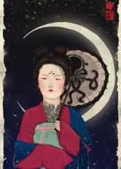 moon octopus chinese ink painting umbrella tattoos tattoo sky stars night asian