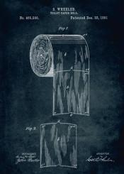270 1891 toilet paper roll inventor wheeler blue patent patents patentart bathroom resroom vintage