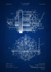 vintage patent patents rotary engine invention inventions blueprint blueprints blue classic mechanical drawing mechanic machine macomber