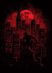 daredevil movie cartoon tv show comic moon dark night city buildings rain hero