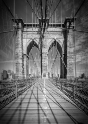 new york city brooklyn bridge landmark sight black white architecture steel cable construction usa attraction sightseeing skyline cityscape monochrome urban detail vertical upright classical