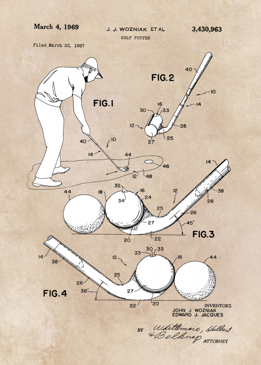 patent art Wozniak Golf putter 1969 325966