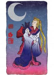 sailormoon moon luna cat japanese traditional painting ukiyoe chinese ink