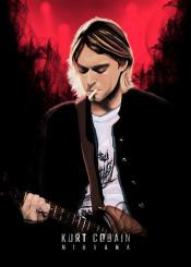 kurt cobain nirvana rock legend legends singer guitar player music red black