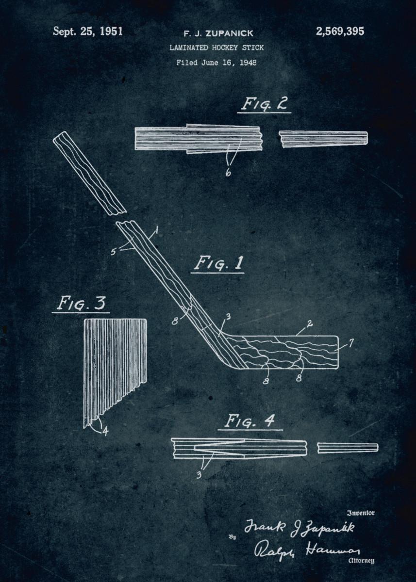 No308 - 1948 - Laminated hockey stick - Zupanick 327757