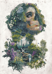 surrealism nature flowers skull fantasy horror dark evil zombie woman beauty magic dream graphicdesign plants painting water weird face birds animals deer moon space forest