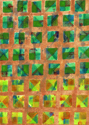 abstract pattern gold golden green square squares geometrical geometry geometric painterly picturesque watercolor painting rhythm cool beautiful