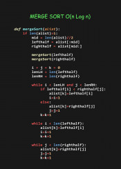 merge sort efficient algorithm code coder programmer python language programming