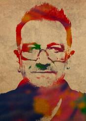 u2 bono watercolor portrait singer music