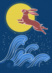 rabbit hare moon japan japanese oriental wave night noren
