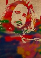 chris cornell soundgarden singer music watercolor portrait