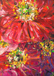 flower paintings nature floral acrylic red violet yellow