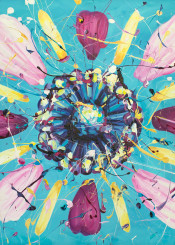 flower paintings nature floral absreact acrylic blue pink yellow
