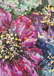 flower paintings nature floral abstract acrylic pink violet blue