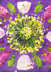 flower painting nature floral abstract acrylic violet yellow pink white