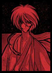anime manga ink inking red minimal vintage japan japanese cool retro ken kenshin samurai himura scar fanfreak old school inspire china robe fighter