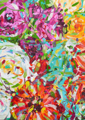flower paintings nature floral abstract acrylic red white blue pink yellow