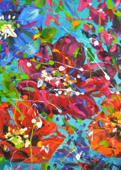 flower painting nature floral abstract acrylic red violet blue white