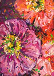 flower painting nature floral abstract acrylic red orange yellow violet