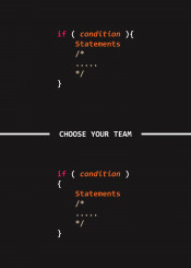 choose team condition conditional if programmer joke humor code coder programming c plus