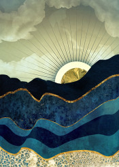landscape nature abstract hills eclipse moon sun gold blue navy contemporary dream watercolor digital yellow