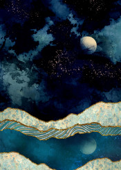 indigo moon water reflection hills mountains landscape nature abstract contemporary gold stars blue navy
