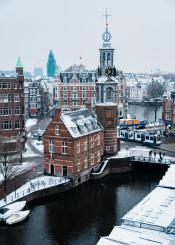 amsterdam dutch winter cityscape