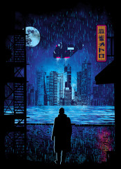 blade runner 2049 movie film classic cyberpunk futuristic city scape moon police spinner officerk los angeles department rain buildings popular culture retro vibrant colourful river wharf fire escape street cobblestone