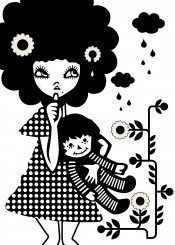 girl woman female lady doll blackandwhite graphic design illustrator illustration vector portrait flower cloud rain dress