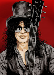slash rock roll guns roses guitar vector illustration music gibson design
