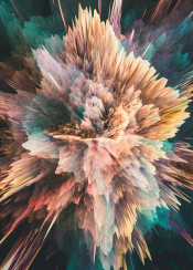 abstract digital color colorful power powerful burst explosion graphicdesign 3d orange purple blue green yellow spiky glitch glitchy smoke moody space galaxy nebula