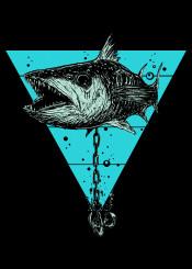 barracuda cuda fish animal steampunk mech mechanical sea creature triangle anchor detail underwater tattoo