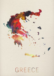 greece watercolor athens map