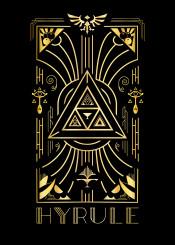 zelda nintendo legendofzelda hyrule artdeco old vintage gold triforce deco design graphic link gaming game videogame classic switch n64 gamecube snes nes hero antique