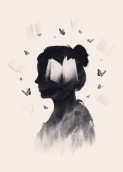 girl book butterfly doubleexposure surreal