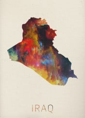 iraq watercolor map